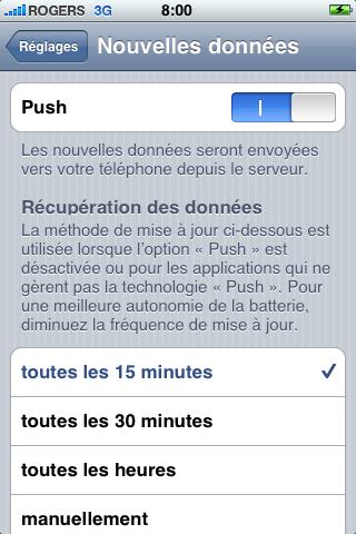 """iphone push configuration2 - iPhone et courriel """"push"""", une impasse"""