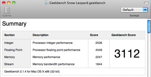 GeekBench Snow Leopard 600x307 - Snow Leopard :: Résultats d'une migration de Tiger à Snow Leopard