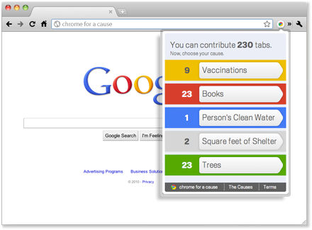 """Donnez à des causes charitables grâce à """"Chrome for a Cause"""""""