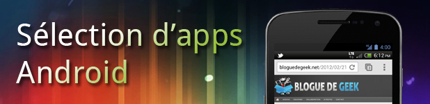 Sélection applications mobile sur Android