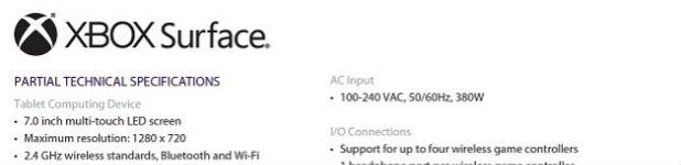 xbox surface enete - La XBOX Surface, les spécifications techniques [Fuite]