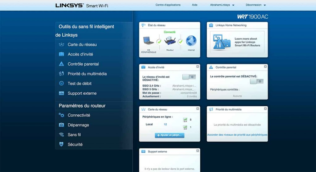 Linksys WRT1900AC Routeur Interface 1024x558 - Routeur WRT1900AC de Linksys [Test]